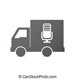 microfono, segno, camion, isolato