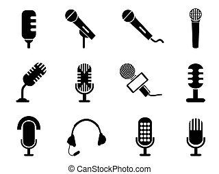 microfono, set, icone