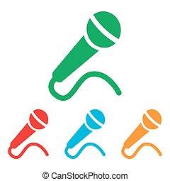 microfono, set, segno., colorfull