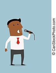 microfono, uomo affari, presentazione