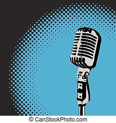 microfono, vettore, 3, riflettore, retro