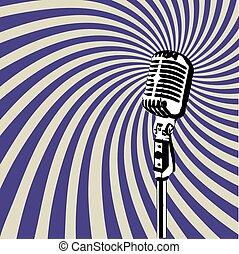 microfono, vettore, retro, 3