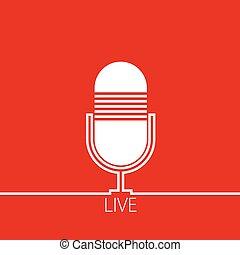 microfono, vettore, rosso