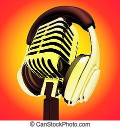 microfoon, headphones, gedresseerd, opnamestudio, of, optredens