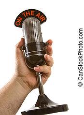 microfoon, in, overhandigen, witte
