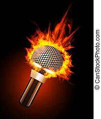 microfoon, in, vuur