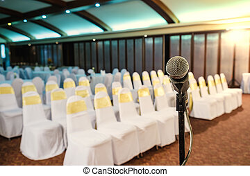 microfoon, kamer, op einde, vergadering, cursus