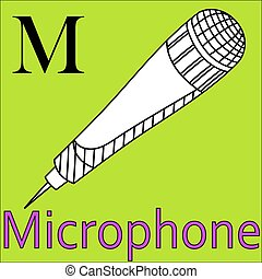 microfoon, kleuren, alphabet., m, vector, letter., boek