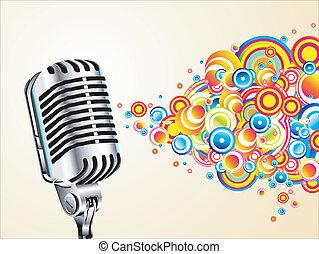 microfoon, magisch, retro