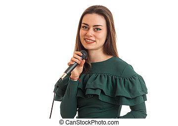 microfoon, merkwaardig, hand, close-up, verticaal, het glimlachen meisje