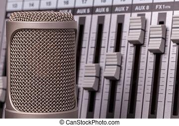 microfoon, mixer, opname, achtergrond., studio, professioneel, audio