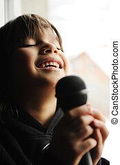 microfoon, musicus, het zingen, geitje