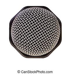 microfoon, op, vrijstaand, opname, achtergrond., closeup, witte , audio
