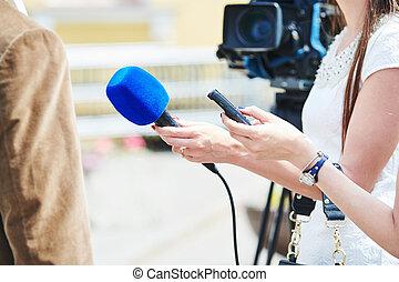 microfoon, reporter, comment., nieuws, interview, vervaardiging