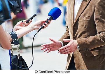 microfoon, reporter, media, journalist, vervaardiging, interview, nieuws