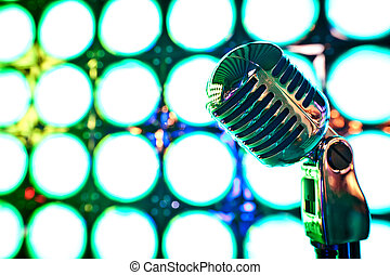 microfoon, retro, toneel