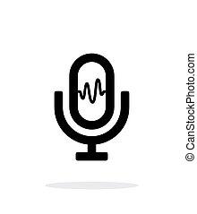 microfoon, signaal, pictogram, op wit, achtergrond.