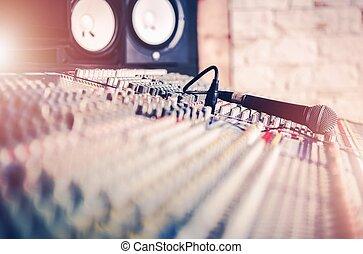 microfoon, studio, mixer