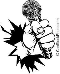 microfoon, verbreking, vasthouden, achtergrond, hand