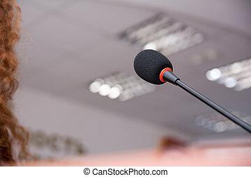microfoon, voor, de, spreker, op, de, conferentie