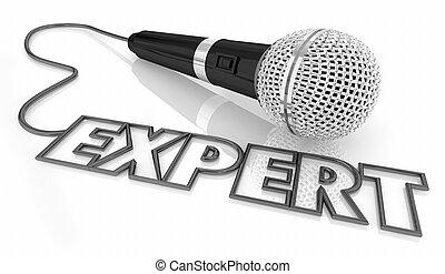 microfoon, woord, deskundig, illustratie, reputatie, ervaring, 3d