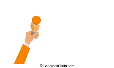 microfoons, journalisten, handen