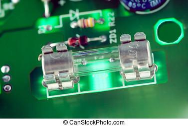 microfuse, und, andere, elektronisch, komponenten, aufgestellt, auf, hauptplatine