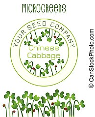Microgreens Chinese Cabbage. Seed packaging design, text, vegan food