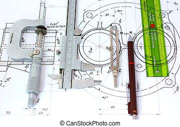 Micrometer, Caliper, Mechanical Pencil, Compass and template ruler on Blueprint.