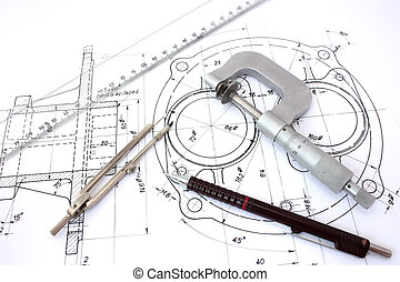 Micrometer, compass, ruler and pencil on blueprint.