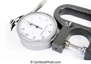 Micrometer - micrometer with the round white dial