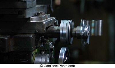 Micrometer wheel on the lathe machi - Close up micrometer...