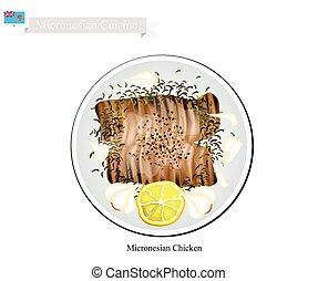 micronésie, plat, poitrine, populaire, poulet grillé