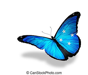 Micronesia flag butterfly flying, isolated on white background