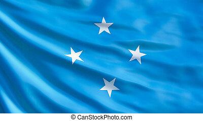 Micronesia flag. Waving flag of Micronesia 3d illustration