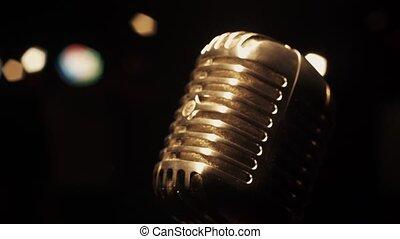 microphone, éclat, concert, club, vendange, retro, sous, projecteur, étape vide