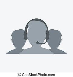 microphone, écouteurs, ouvrier, icône