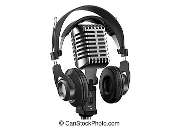 microphone, écouteurs, retro