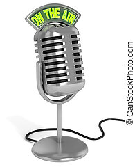 """microphone 3d illustration - radio microphone with """"on the air"""" sign on top isolated over white background"""