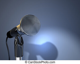 Microphone 5 - A chromed microphone on blue background - 3d...