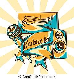 microphone, acoustique, style, illustration, événement, arrière-plan., musique, retro, fête, karaoke, design.