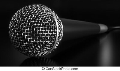 Microphone against black background - Microphone close-up...