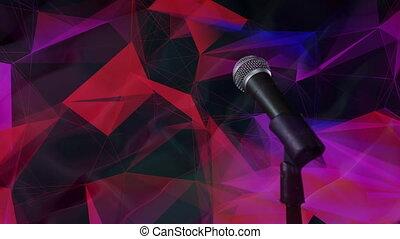 Microphone against plexus networks on black background