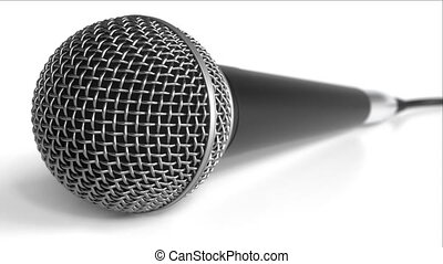 Microphone against white background - Microphone close-up...
