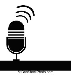 microphone ancient black vector