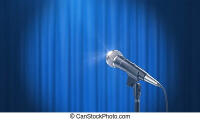 Microphone and a Blue Curtain Background