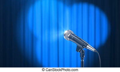 Microphone and a Blue Curtain with Rotating Spotlights
