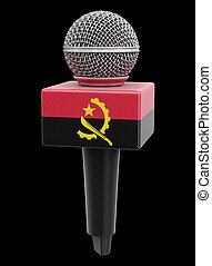 Microphone and Angolan flag. Image with clipping path