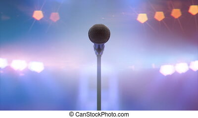Microphone and colorful spotlights moving with the rhythm of the music and sound
