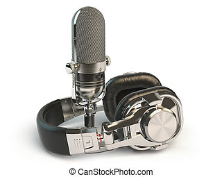 Microphone and headphones isolated on white. Audio recording or radio concept.